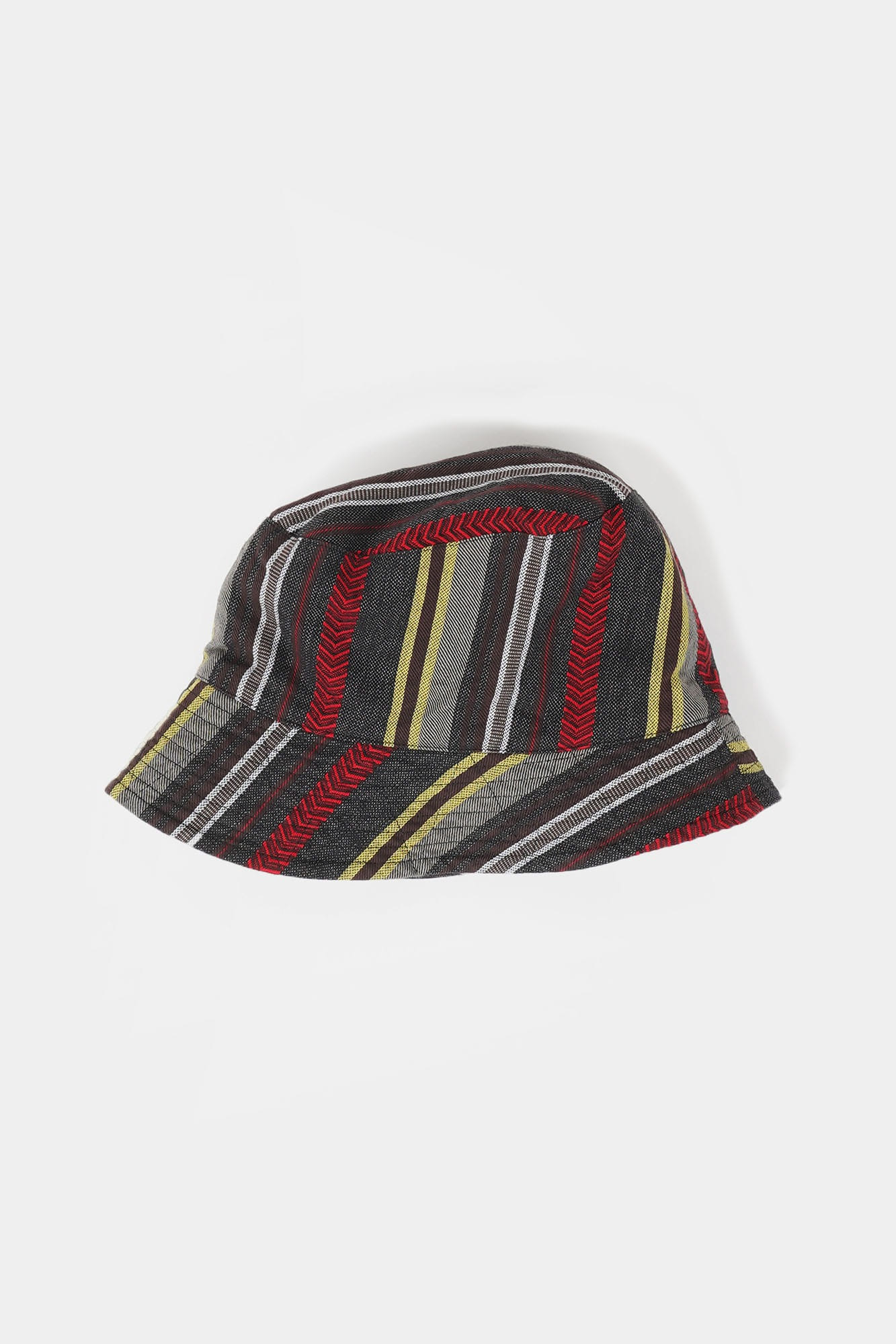 "ENGINEERED GARMENTS Bucket Hat ""Grey/Yellow/Red Herringbone Dobby Stripe"""