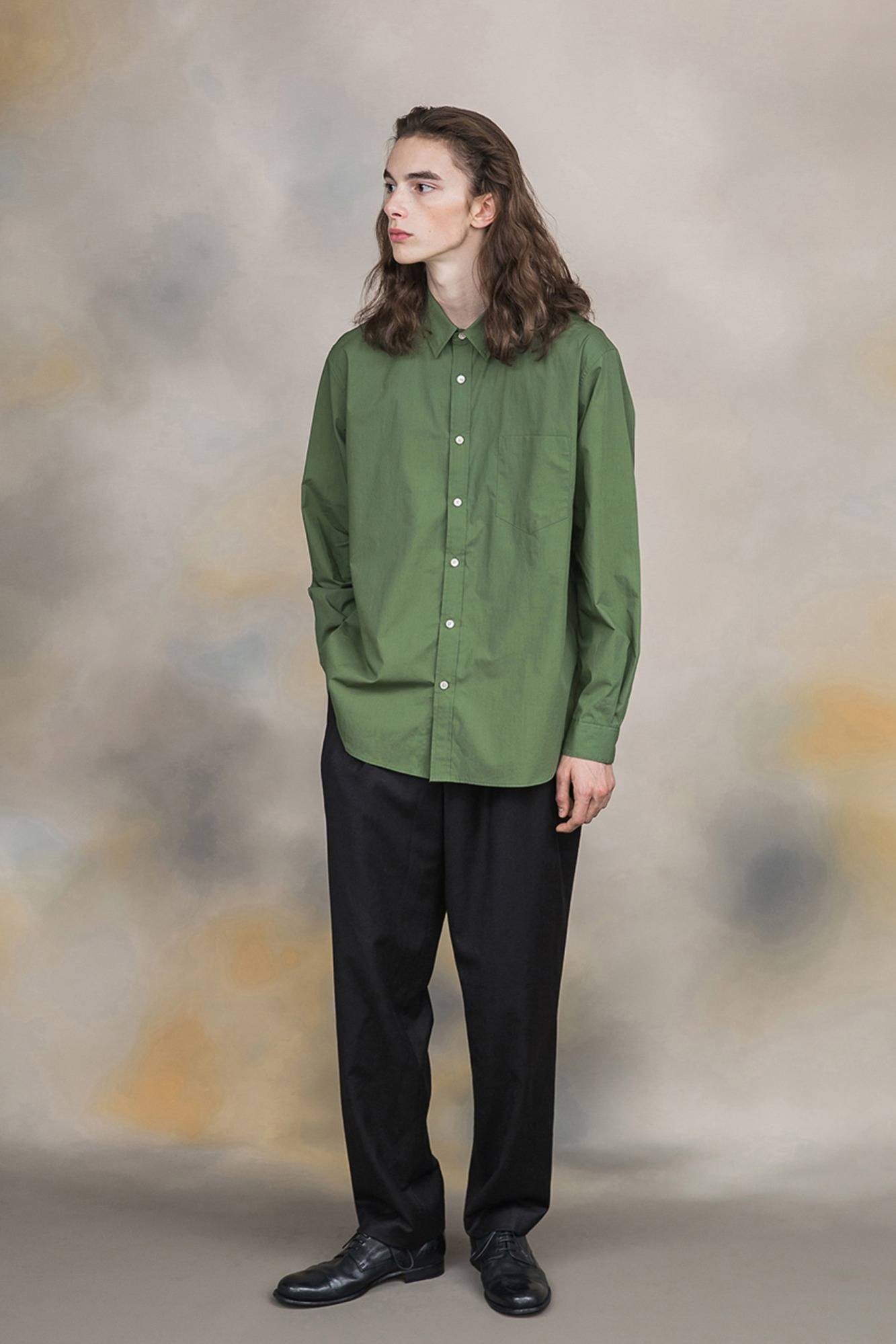 "★SHIRTER High Density Blue Stripe Standard Shirt ""Green"""