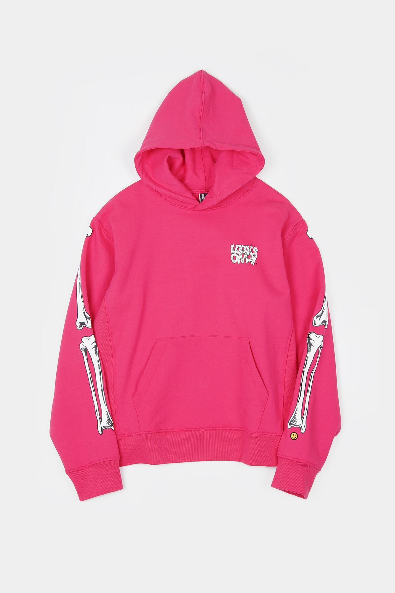 "LOCALS ONLY Bones Pull Over Hoodie ""Pink"""