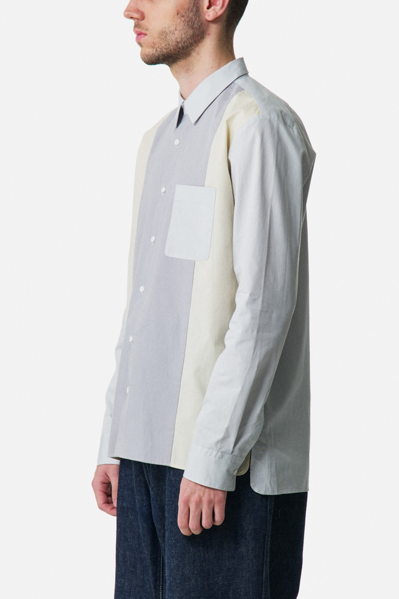 "★ALOYE Color Blocks Long Sleeve Shirt ""Grey"""