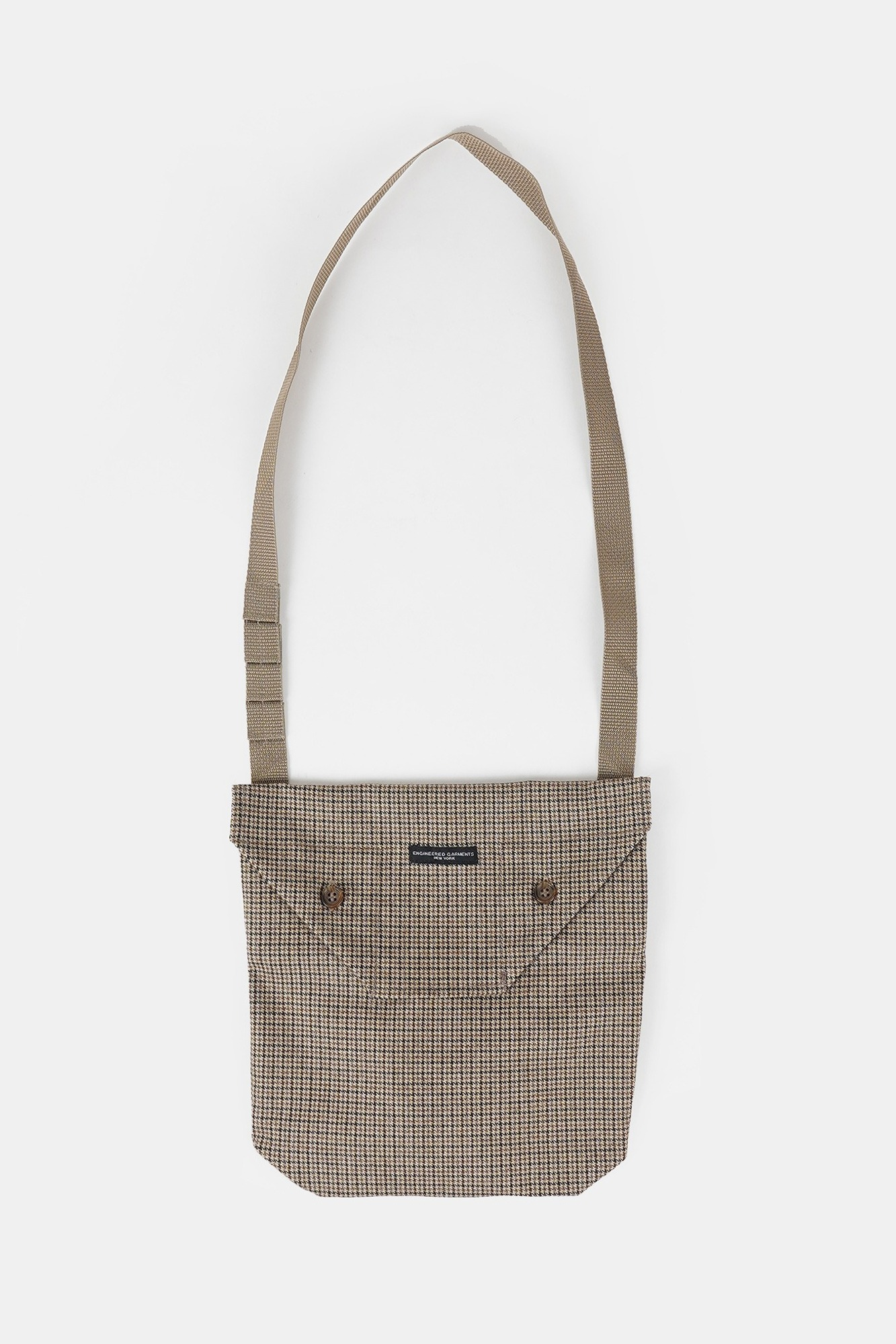 "ENGINEERED GARMENTS Shoulder Pouch ""Brown Wool Poly Gunclub Check"""
