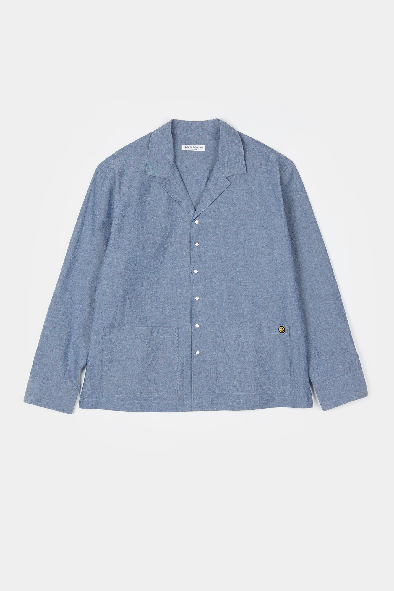 "LOCLAS ONLY Chambray Open Collar Shirts Jacket ""Indigo"""