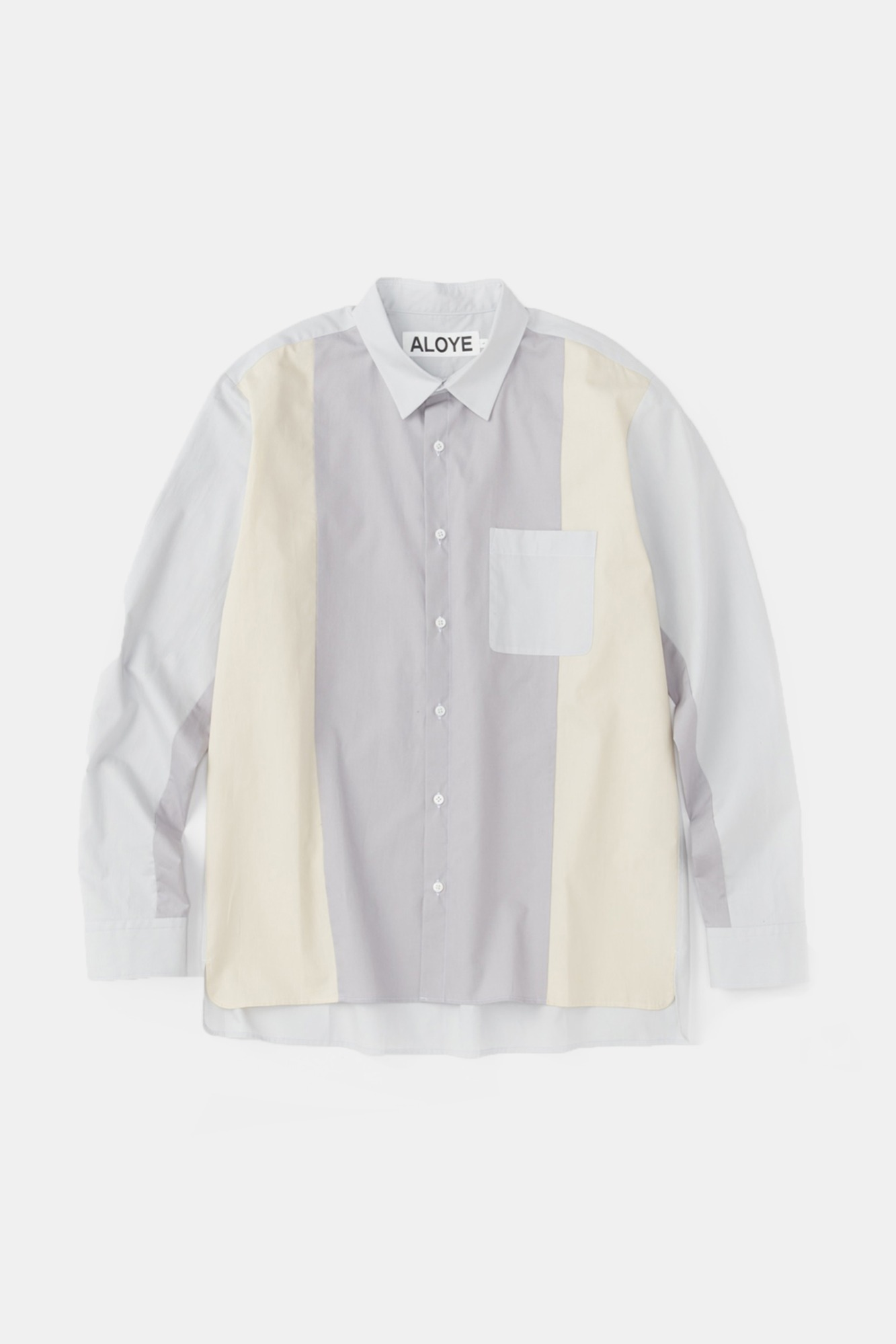 "ALOYE Color Blocks Long Sleeve Shirt ""Grey"""