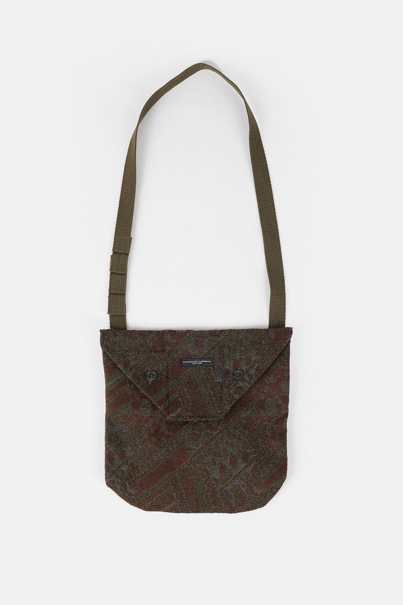 "ENGINEERED GARMENTS Shoulder Pouch ""Olive/Brown Chenille"""