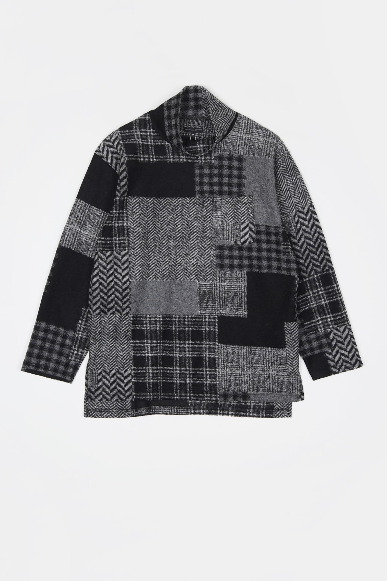 "ENGINEERED GARMENTS Mock Turtle ""Black/Grey Knit Patchwork Herringbone"""