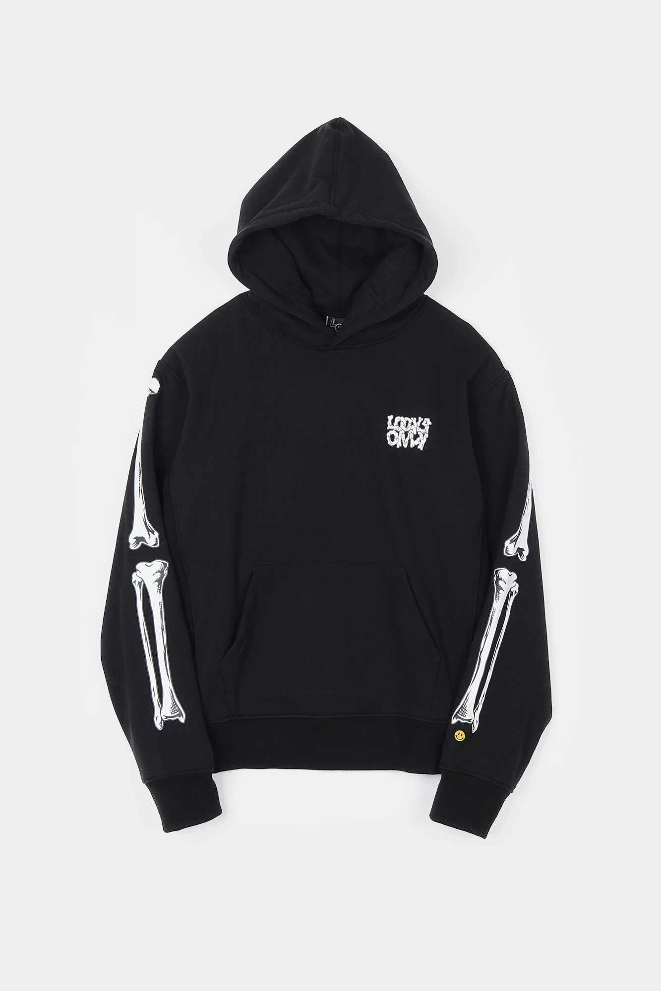 "LOCALS ONLY Bones Pull Over Hoodie ""Black"""