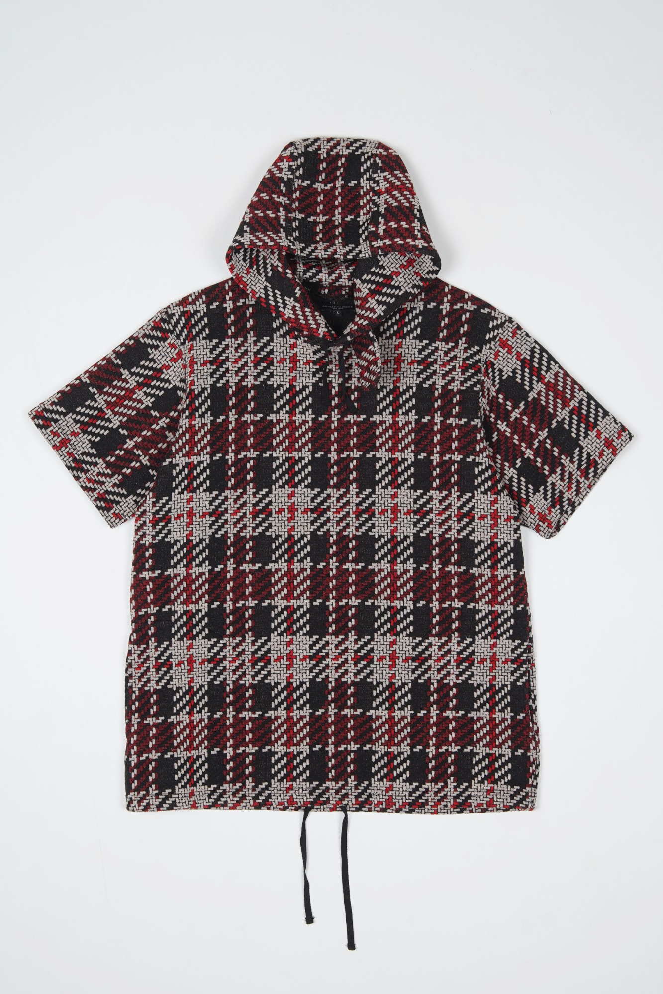 "ENGINEERED GARMENTS Short Sleeve Hoodie ""Black/Red Tweed Knit"""