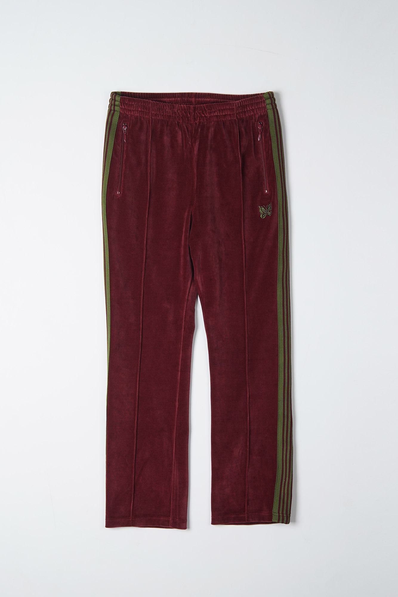 "NEEDLES Narrow Track Pant C/Pe Velour ""Bordeaux"""