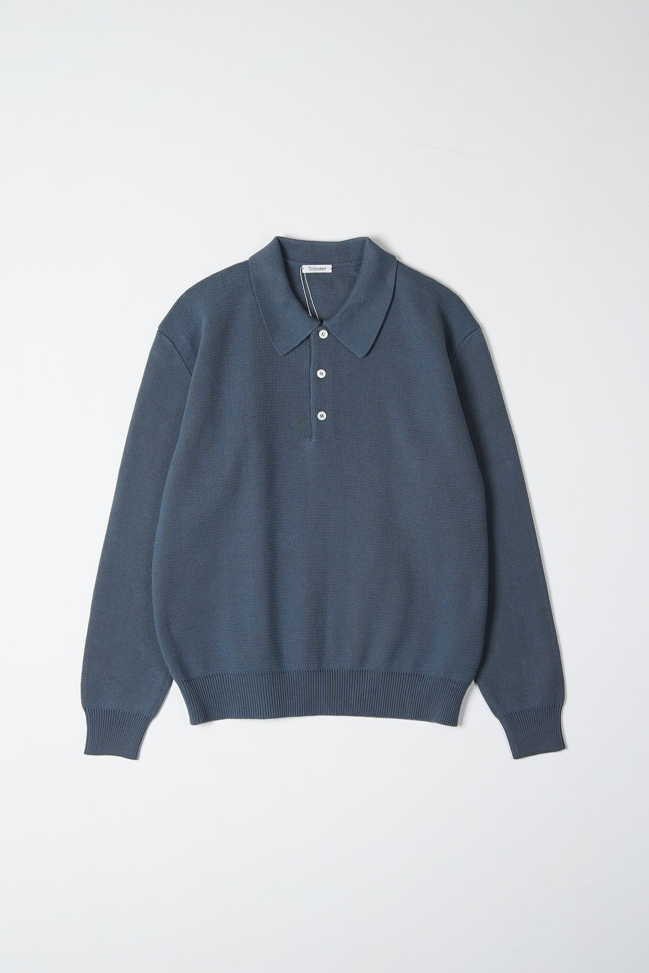 "TRICOTER Low Gauge Polo Knit ""Blue Grey"""