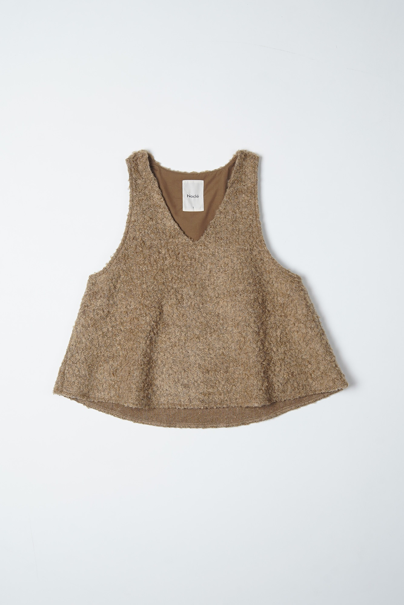 "Noclé Loop Yarn Wool V Neck Vest ""Beige"""