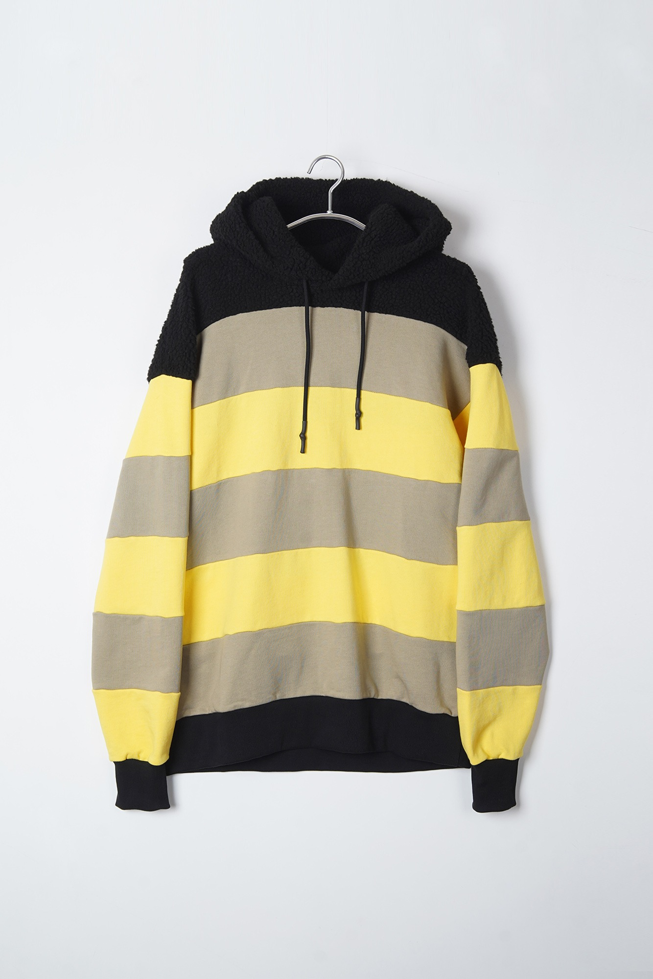 "DAVID CATALAN Line Fake Fur Hoddie ""Black/Beige/Yellow"""