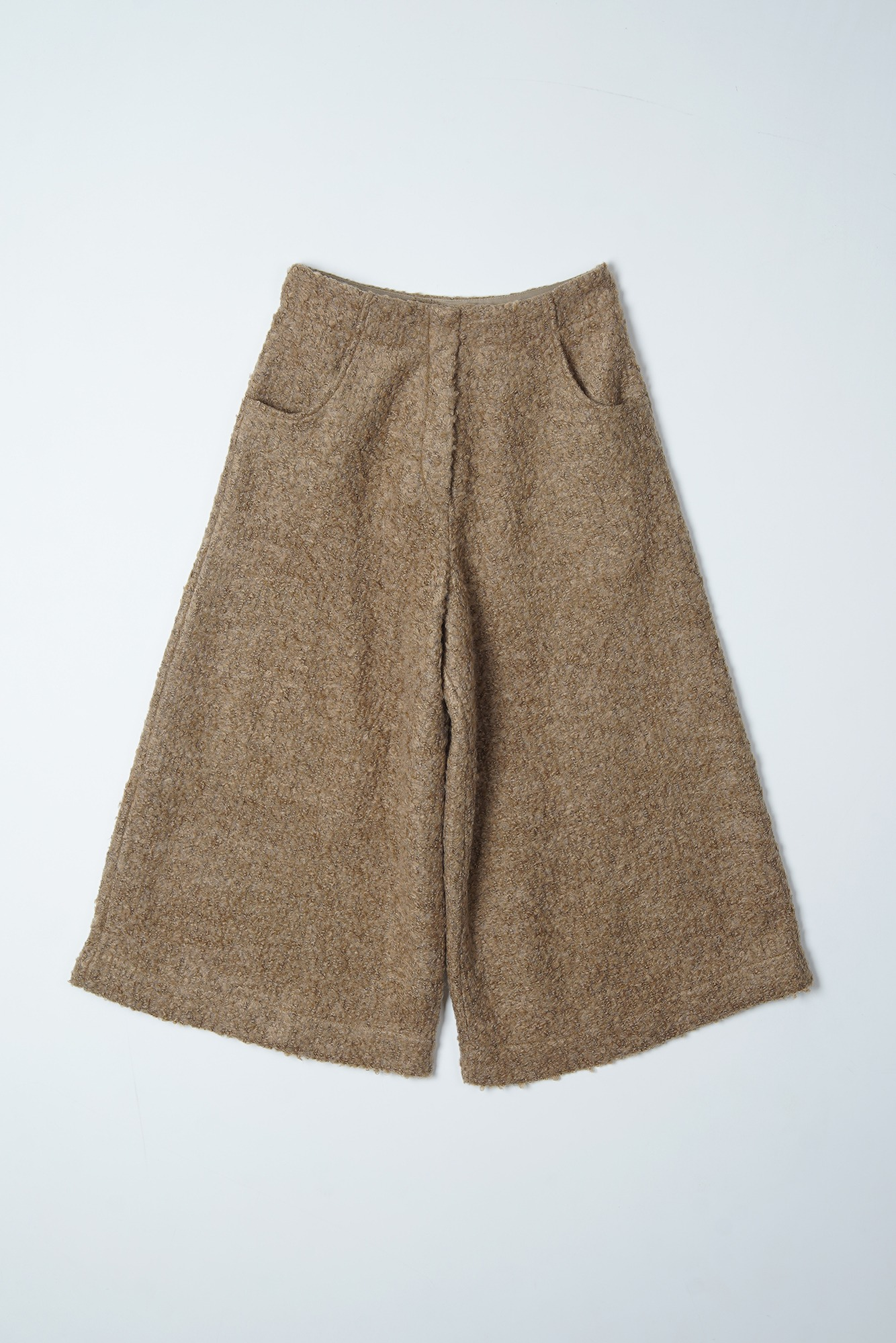 "Noclé Loop Yarn Wool Wide Crop Pants ""Beige"""