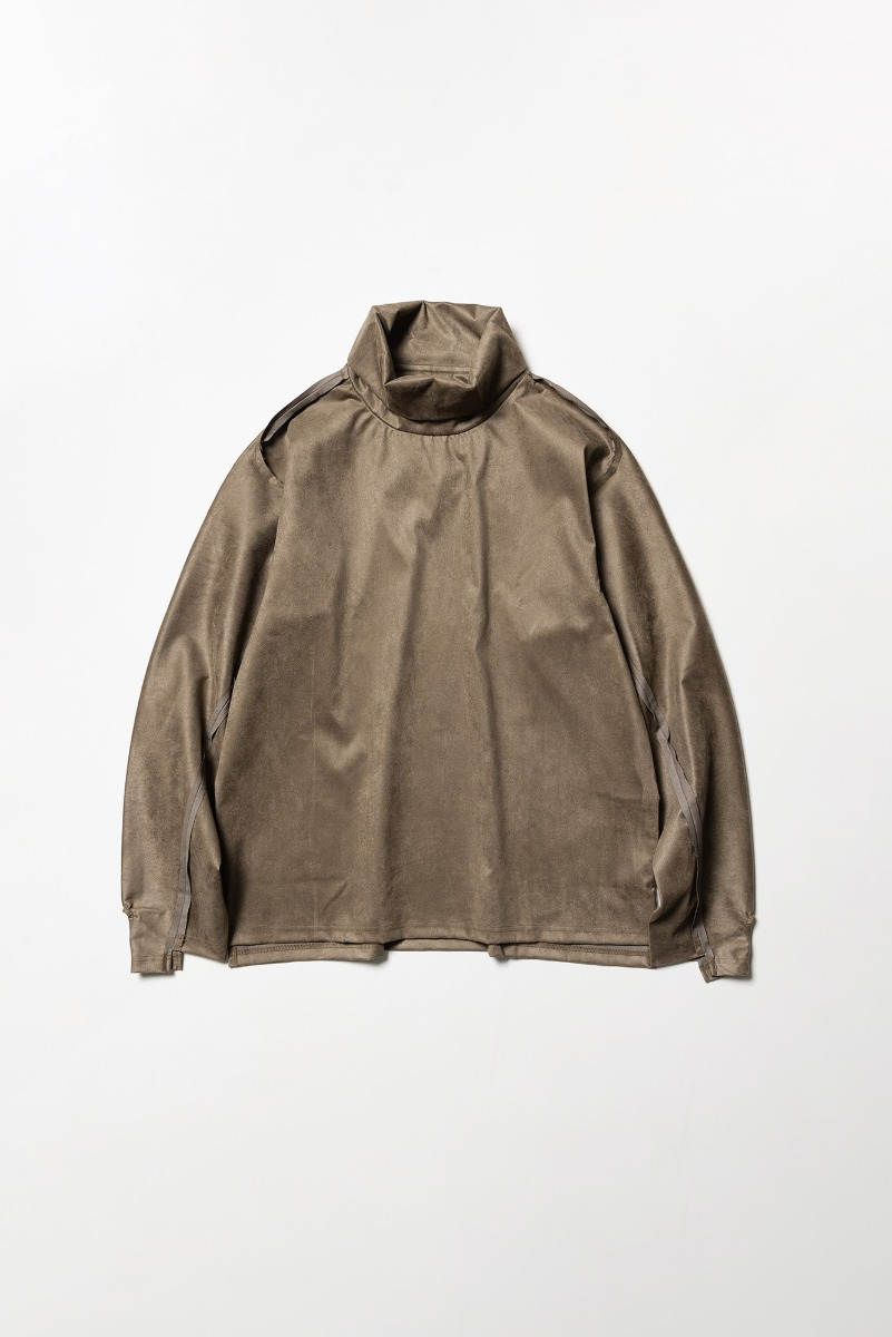 "MEANSWHILE Suede Split Sleeve Turtleneck ""Brown"""