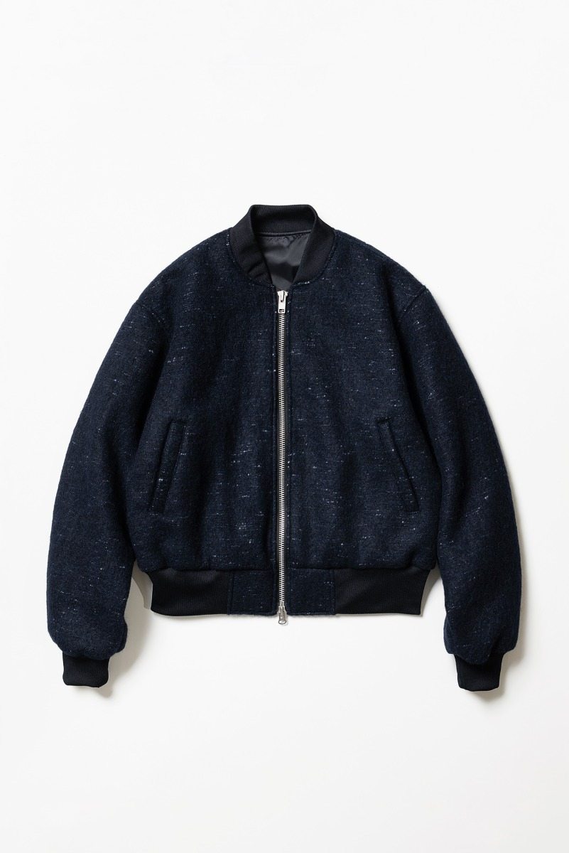 "Noclé Wool Mohair 2 Way Bomber Jacket ""Navy"""