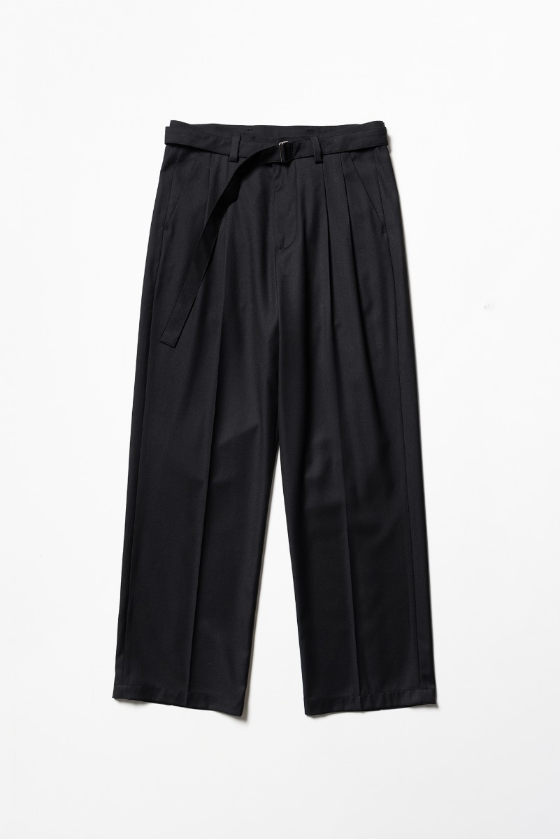 "Noclé Wide Fit Belted Pants ""Black"""