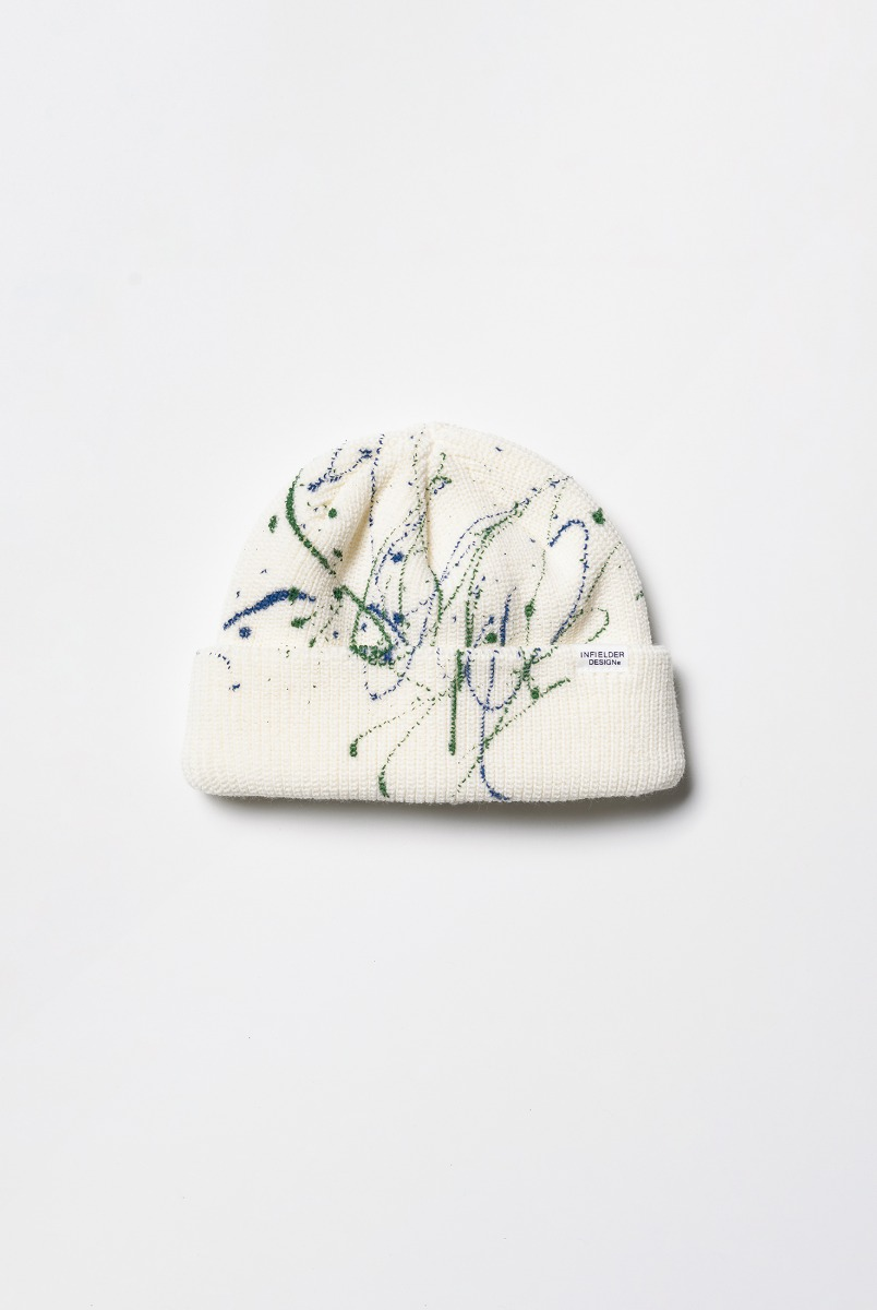 "INFIELDER DESIGN Paint Knit Cap ""White"""