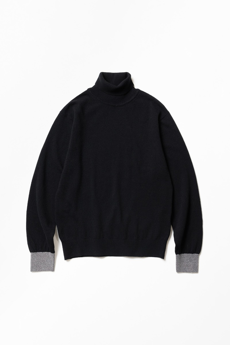 "TRICOTER Cashmere Blend Two Tone Rollneck Sweater ""Black/Grey"""