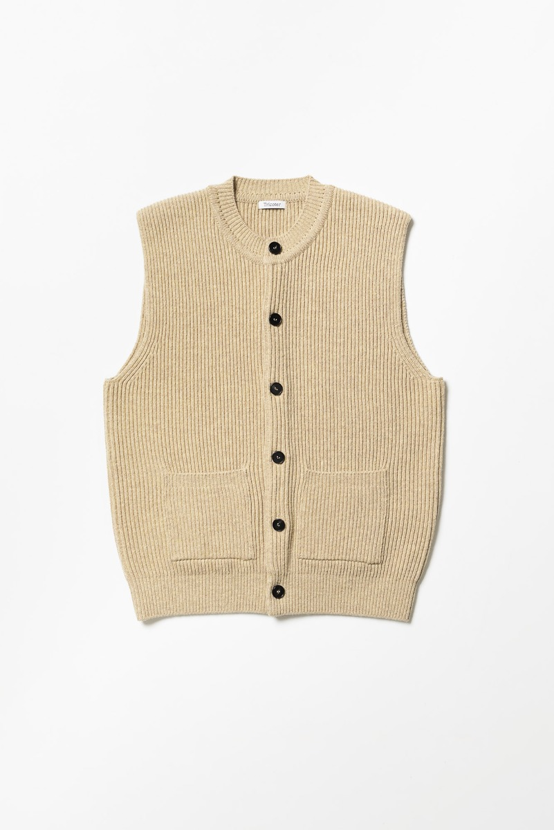 "TRICOTER Chunky Ribbed Full Vest ""Heather Mustard"""