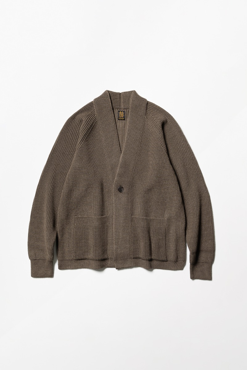 "BATONER Signature Showl Collar Cardigan ""Brown"""