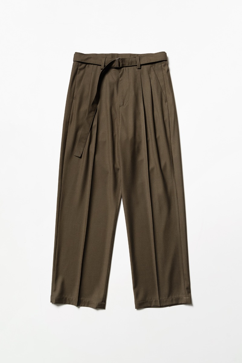 "Noclé Wide Fit Belted Pants ""Olive Brown"""
