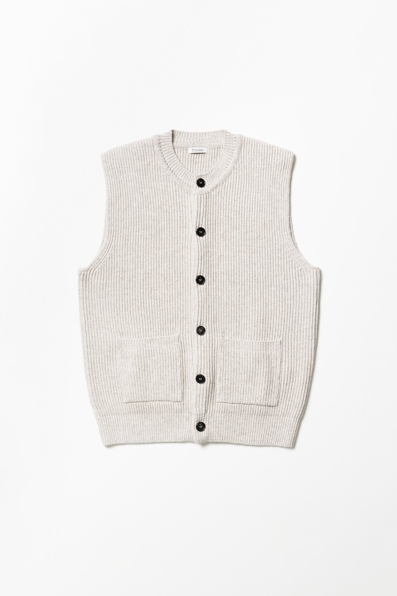 "TRICOTER Chunky Ribbed Full Vest ""Oatmeal"""