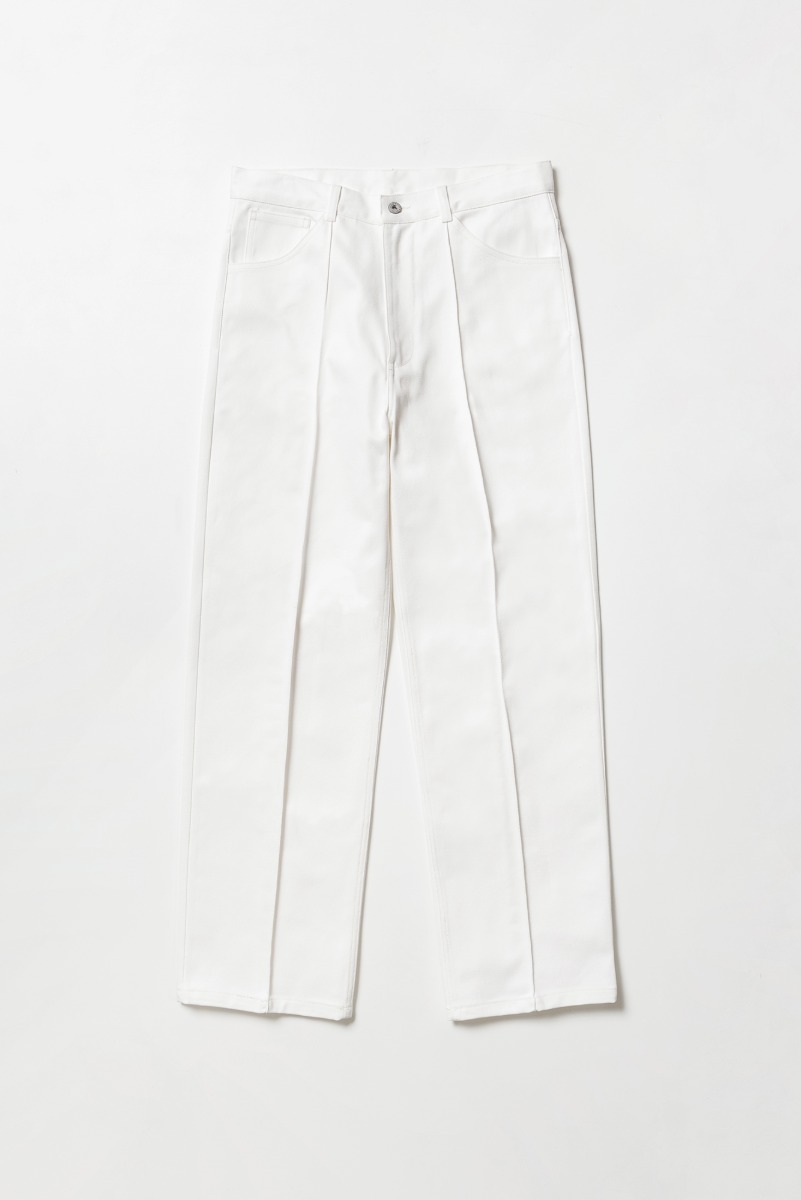 "Noclé Center Pleats Straight Jeans ""Ecru """