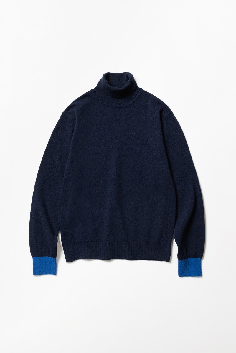 "TRICOTER Cashmere Blend Two Tone Rollneck Sweater ""Navy/Cobalt Blue"""