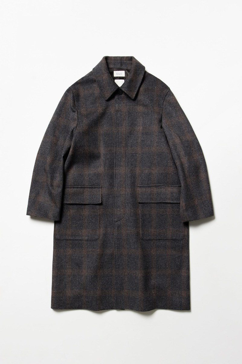 [COLLABORATION] NOCLE X SHIRTER Fine Wool Check Mac Coat