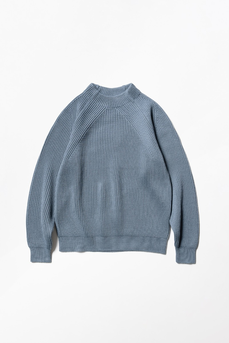 "BATONER Signature Mock Neck ""Grey Blue"""