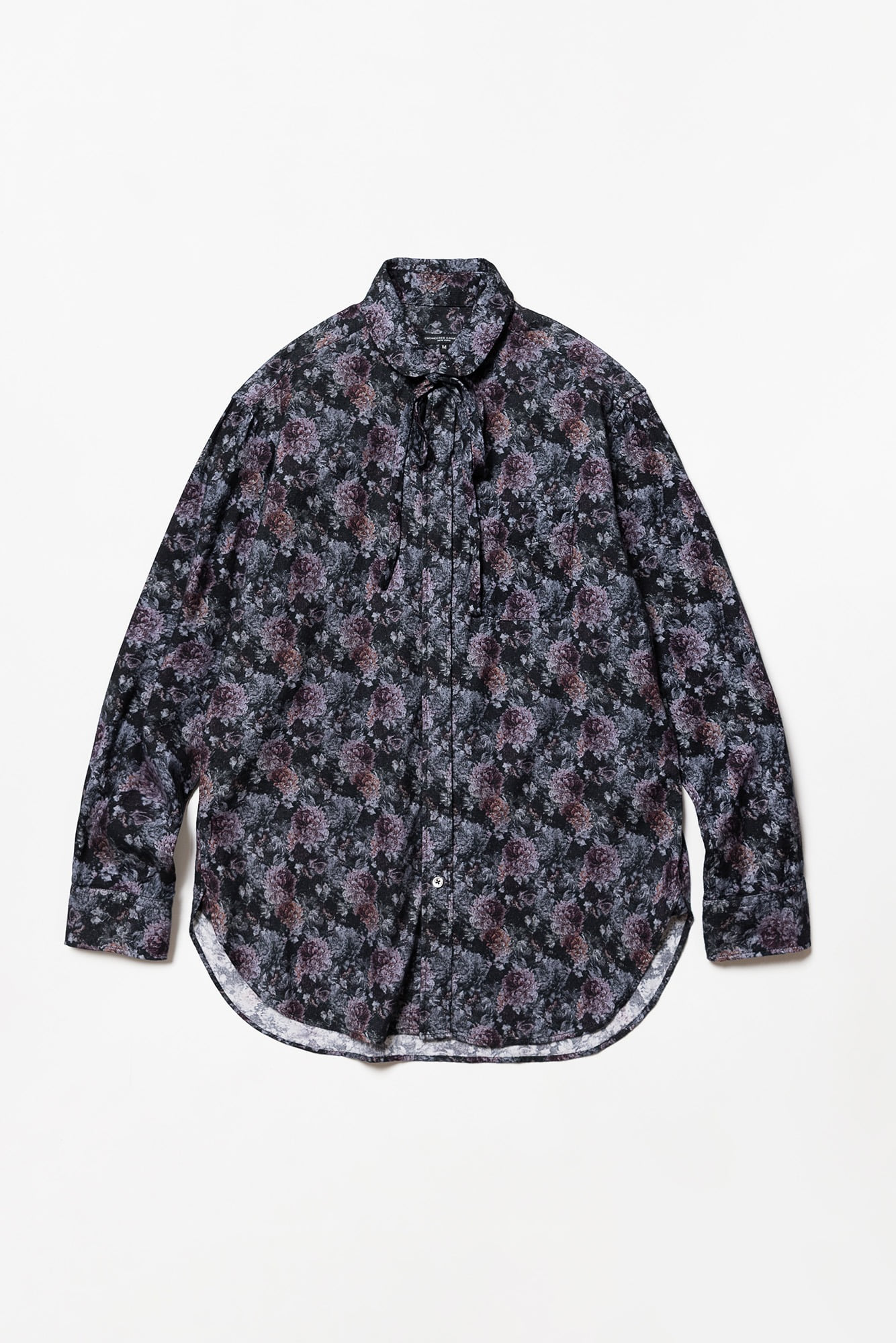 "ENGINEERED GARMENTS Rounded Collar Shirt ""Purple Cotton Flannel Floral Print"""