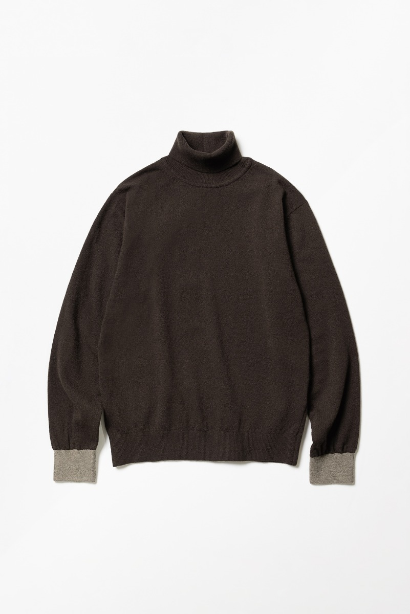 "TRICOTER Cashmere Blend Two Tone Rollneck Sweater ""Brown/Khaki"""