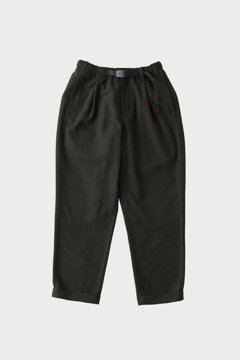 "GRAMICCI Wool Blend Tuck Tapered Pants ""Deep Olive"""