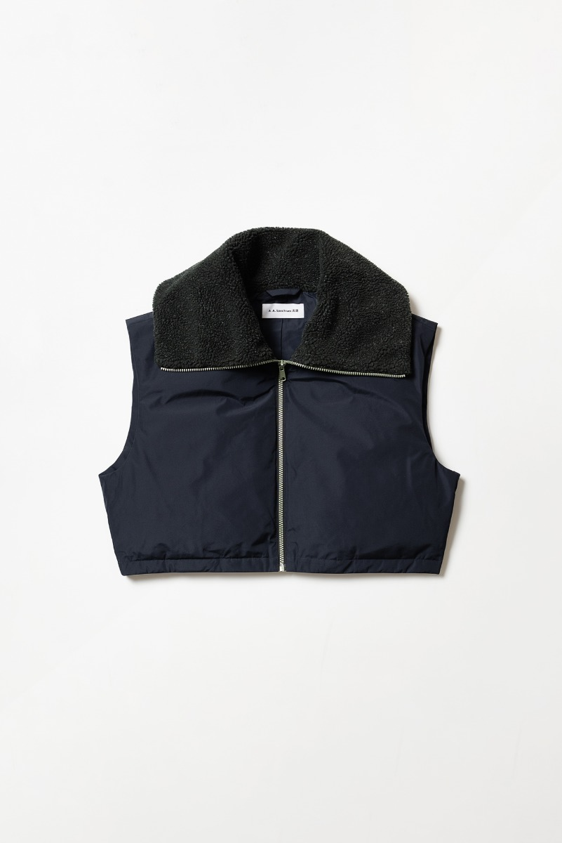 "A.A.Spectrum Wide Collar Down Vest ""Night Blue"""