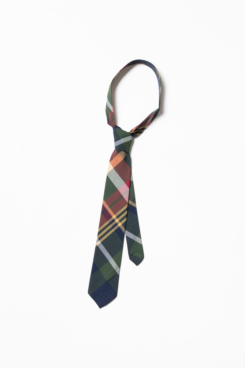 "ENGINEERED GARMENTS Neck Tie ""Green Navy Cotton Big Madras Plain Check"""