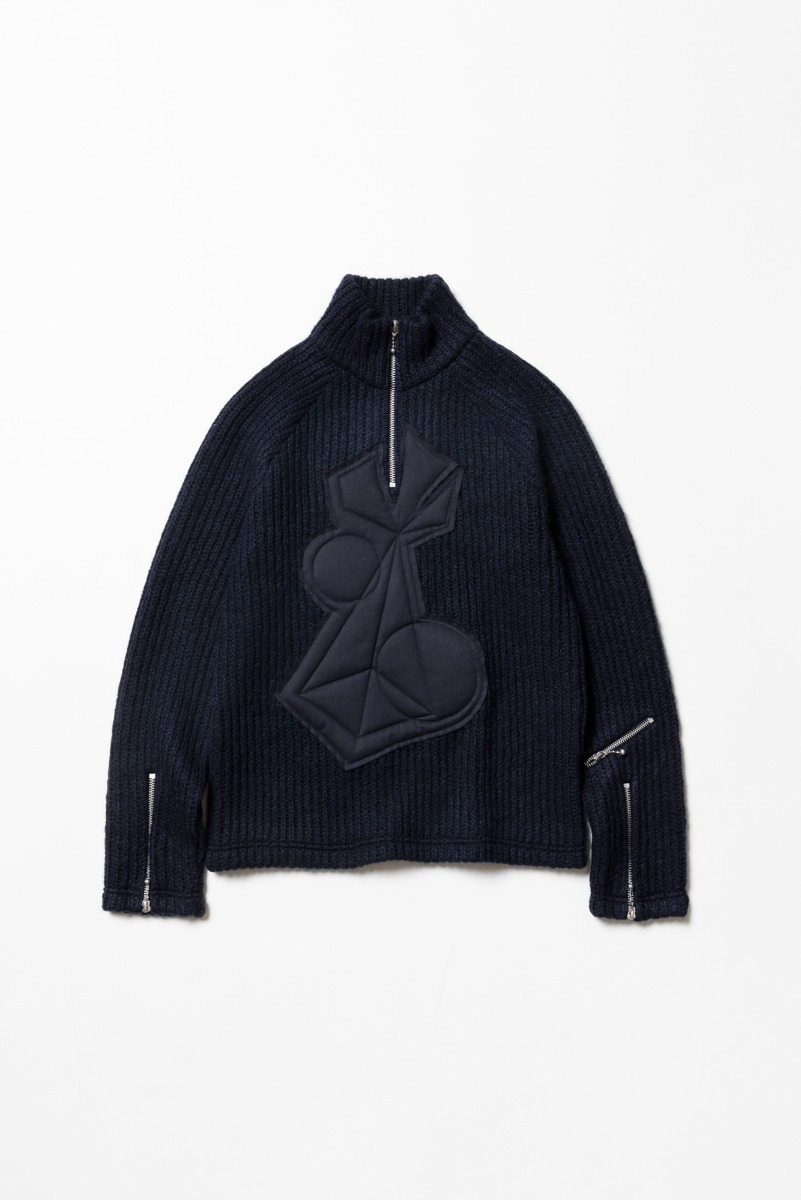 "THE MUSEUM VISITOR Applique Zipper Pull Over Knit ""Navy"""