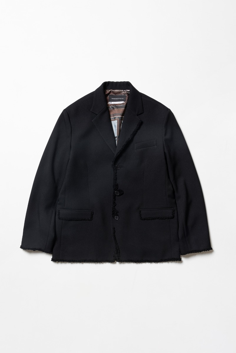 "THE MUSEUM VISITOR Knit Trimmed Single Blazer ""Black"""