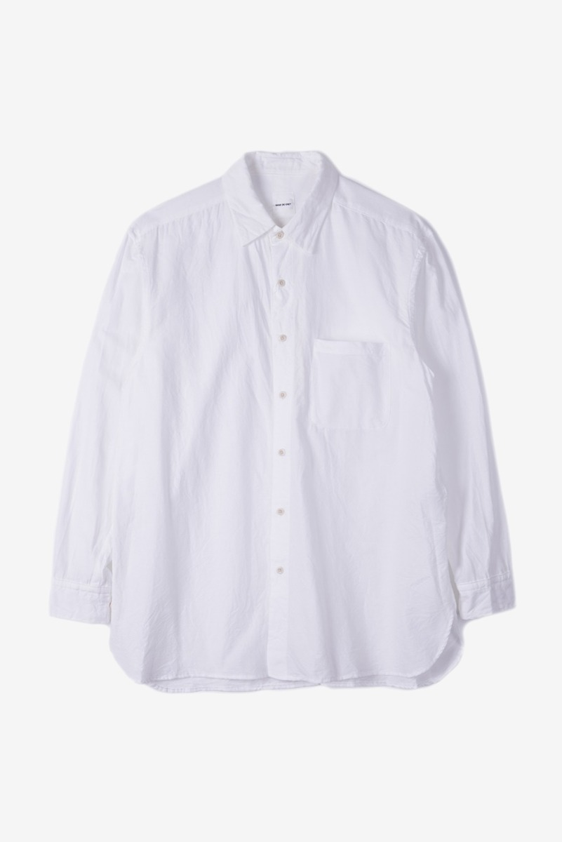 "SAGE DE CRET Regular Collar Long Shirt ""Off-White"""
