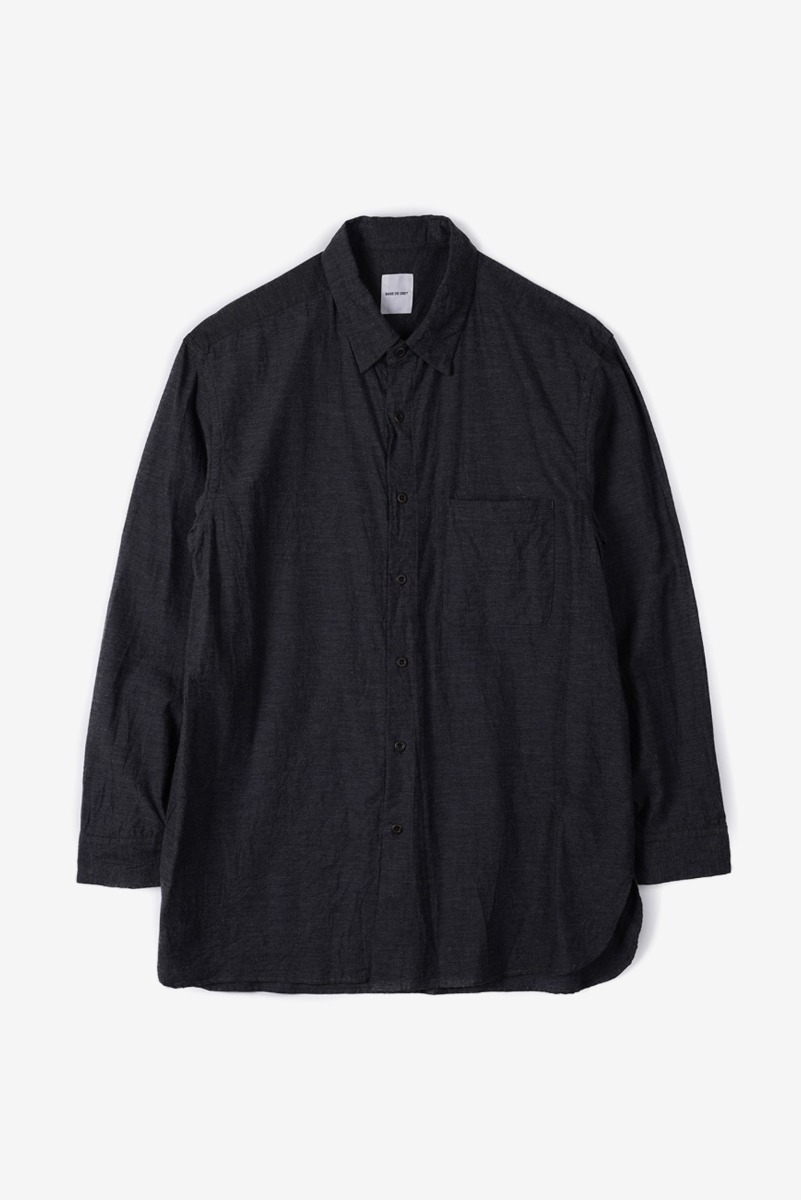 "SAGE DE CRET Regular Collar Long Shirt ""Charcoal"""