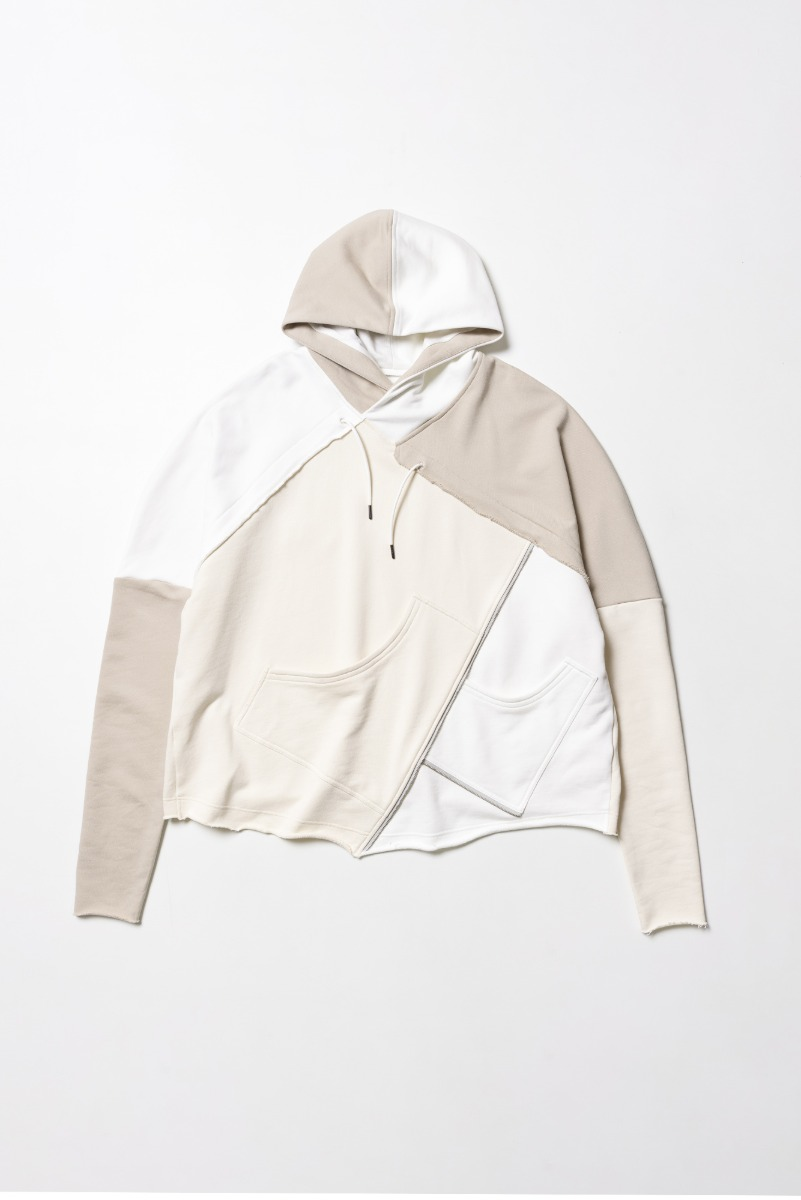 "A.A SPECTRUM Collage Hoodie ""Shell White & Wheat & No Bleach"""
