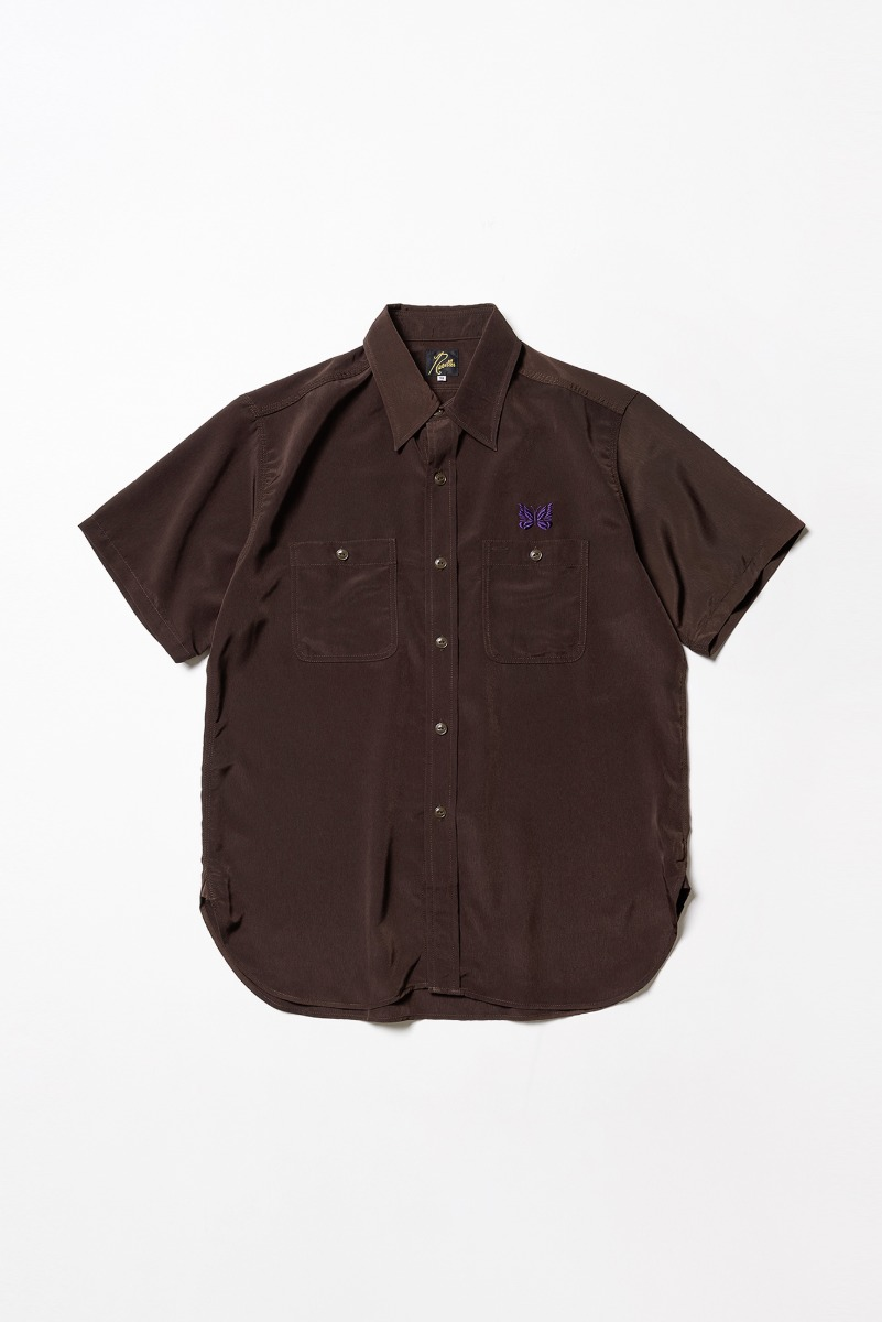 "Needles S/S Work Shirt Poly Cloth ""Brown"""