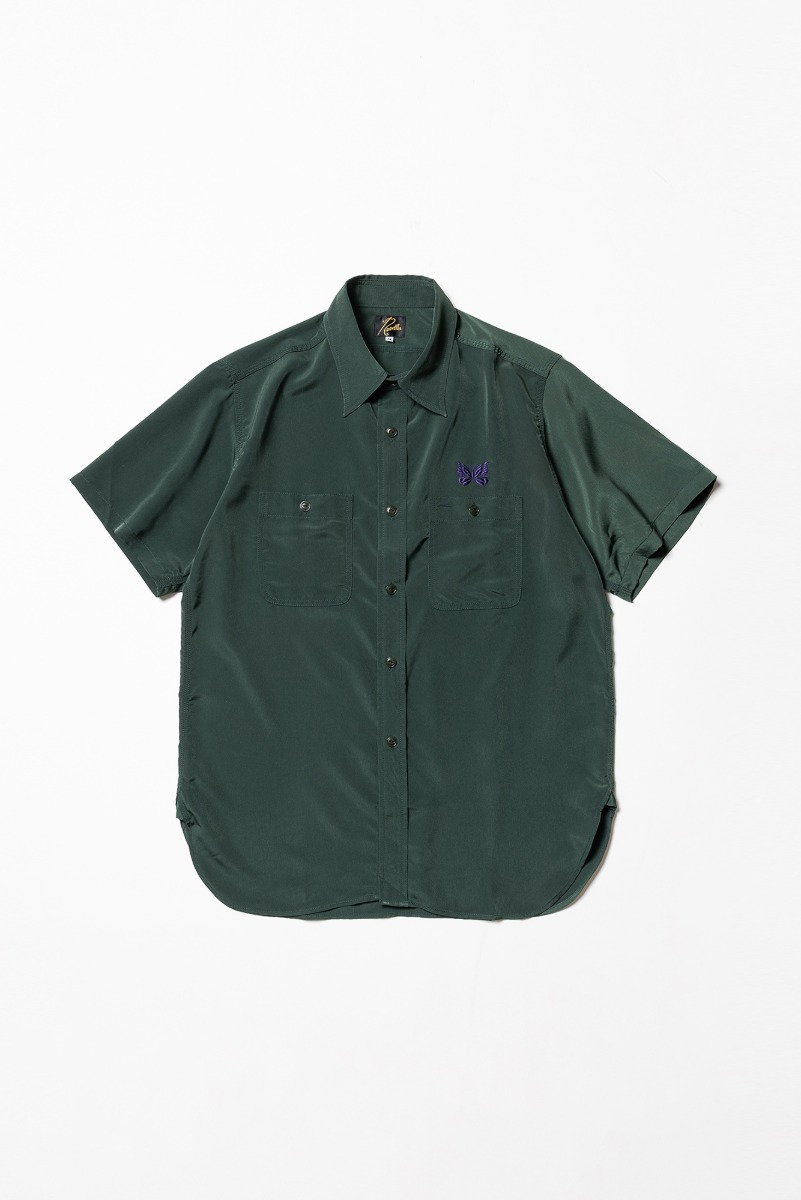 "Needles S/S Work Shirt Poly Cloth ""Green"""