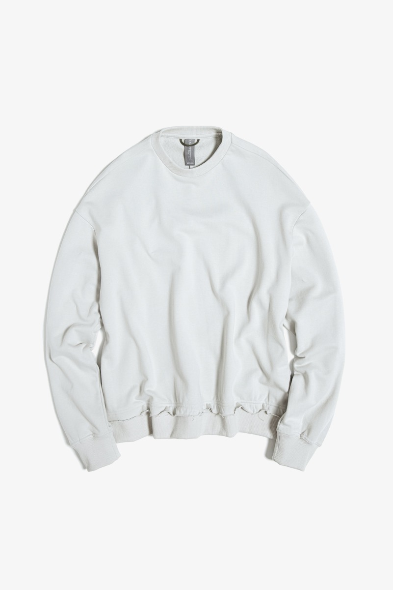 "UNAFFECTED Raw Edged Cut Sweatshirt ""Light Grey"""