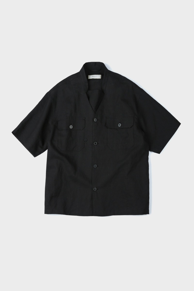 "SHIRTER Transform Military Band Collar Shirt ""Black"""