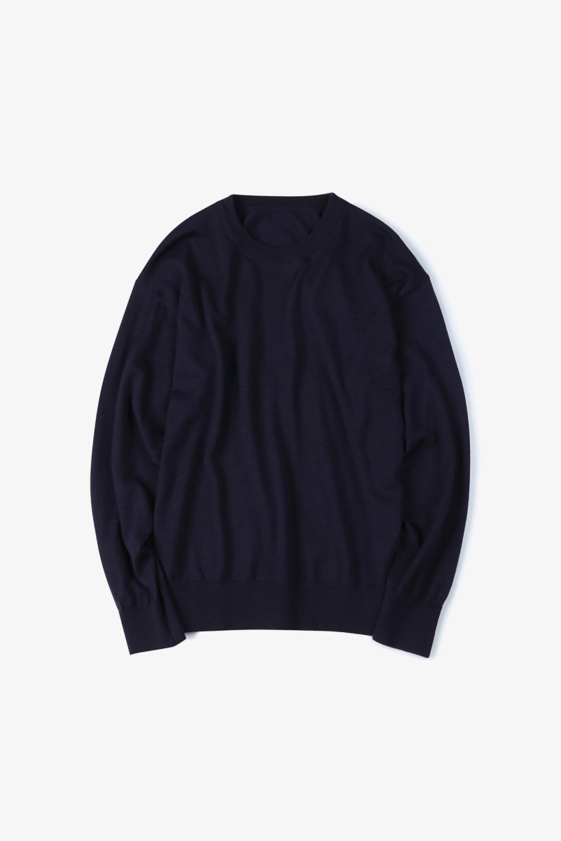 "SHIRTER Washable Pure Wool Crew Neck Knit ""Dark Navy"""
