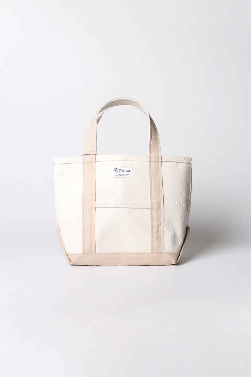 "ORCIVAL Small 24oz HANPU Canvas Tote Bag ""Ecru x Pink Beige"""