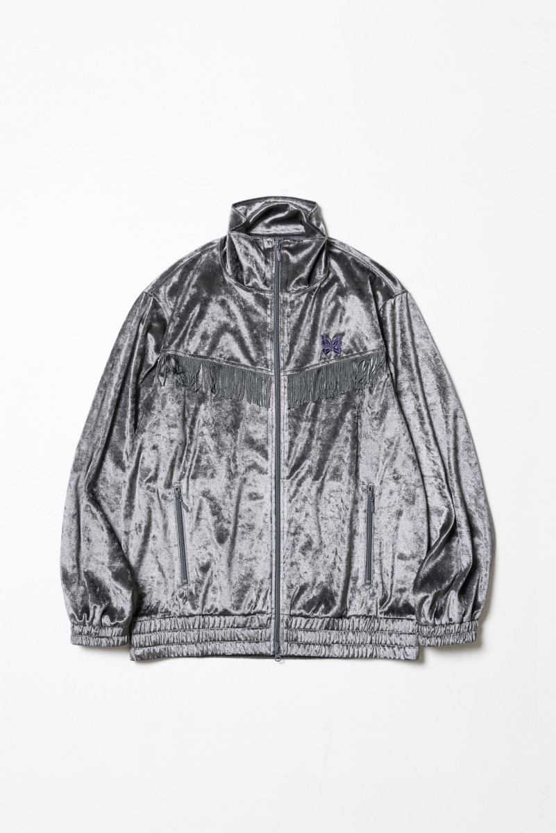 "Needles Fringe Track Jacket Crush Velour ""Grey"""