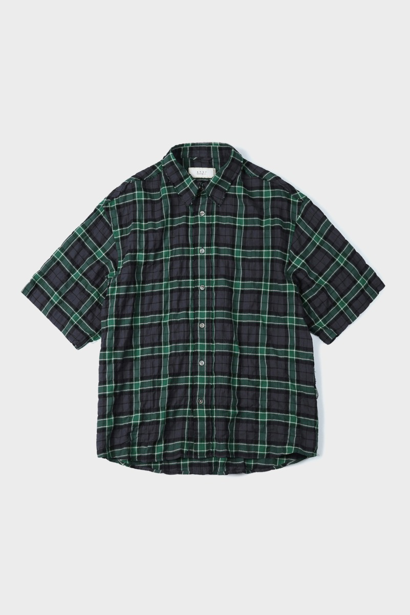 "SHIRTER Cut Off Half Shirt ""Check Green"""