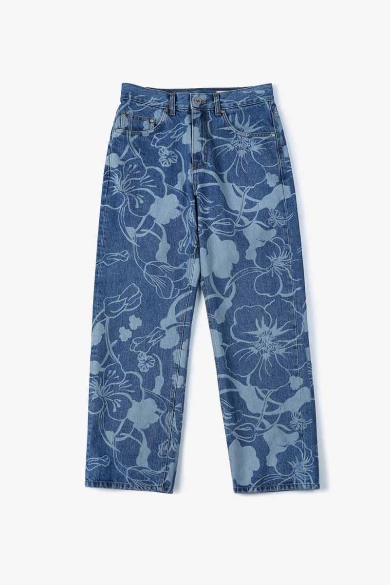 "SHIRTER Floral Laser Denim Pants ""Light Blue"""