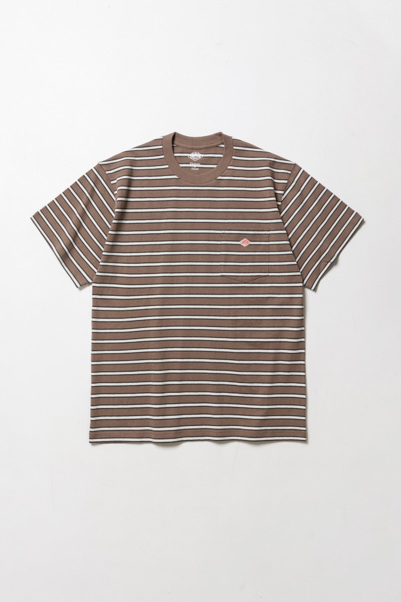 "DANTON Pocket Stripe T-Shirt S/S ""Brown x Black x LT.Green"""