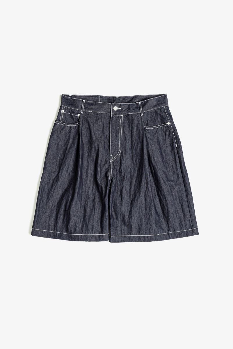 "UNAFFECTED One Tuck Denim Shorts ""Indigo Blue"""